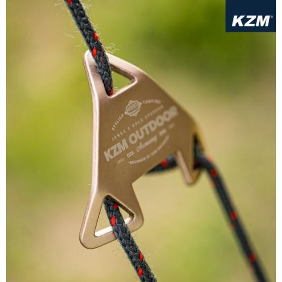 KAZMI KZM 三角型三孔調節片8入(香檳色) 營繩 調節片 帳篷 天幕 【露戰隊】