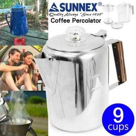 【露戰隊】MAGIC 美式不鏽鋼野營咖啡壺 - 九杯份 (滴煮式)(RV-ST270-9)