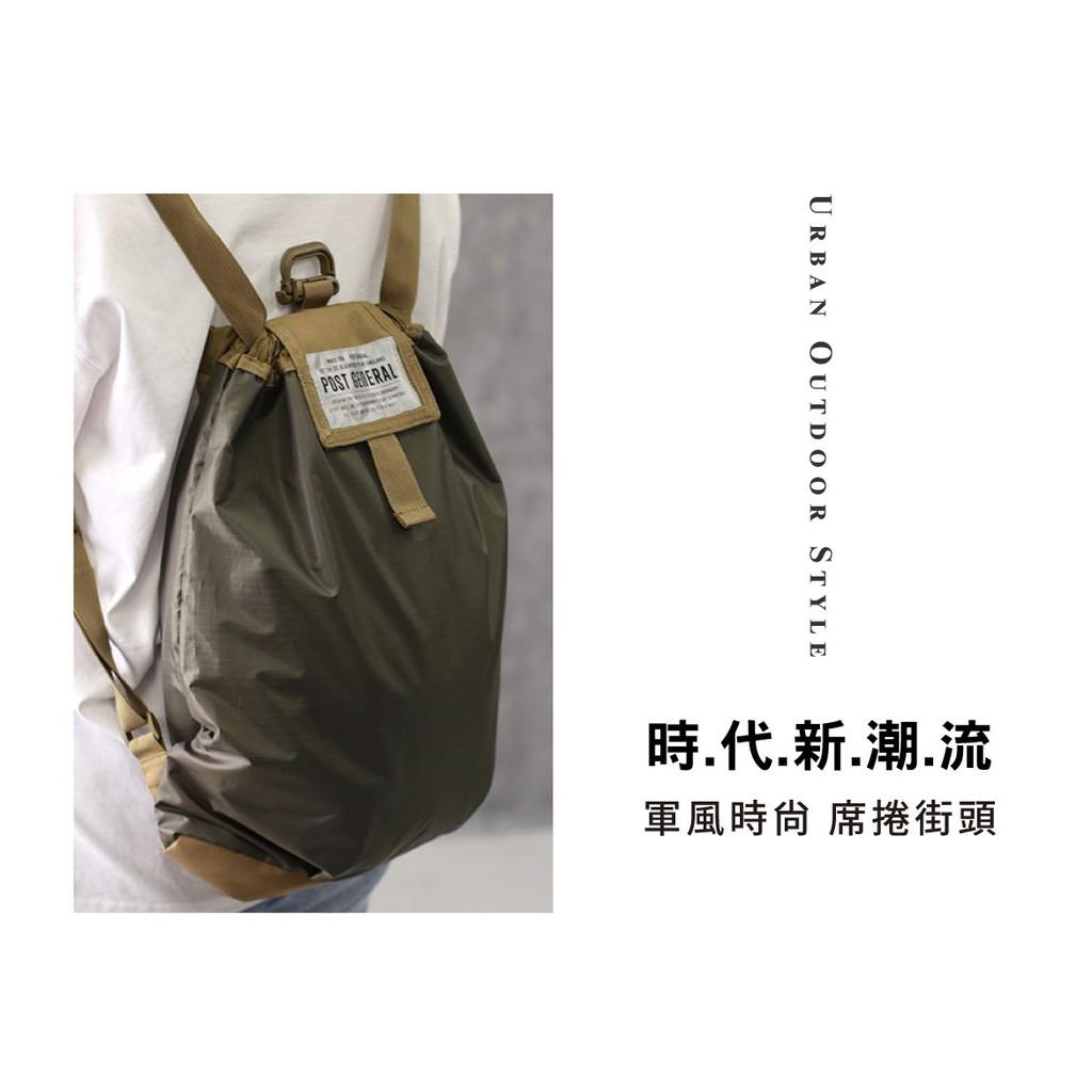 POST GENERAL–環保摺疊束口防潑水雙肩後背包 【露戰隊】 橄欖綠