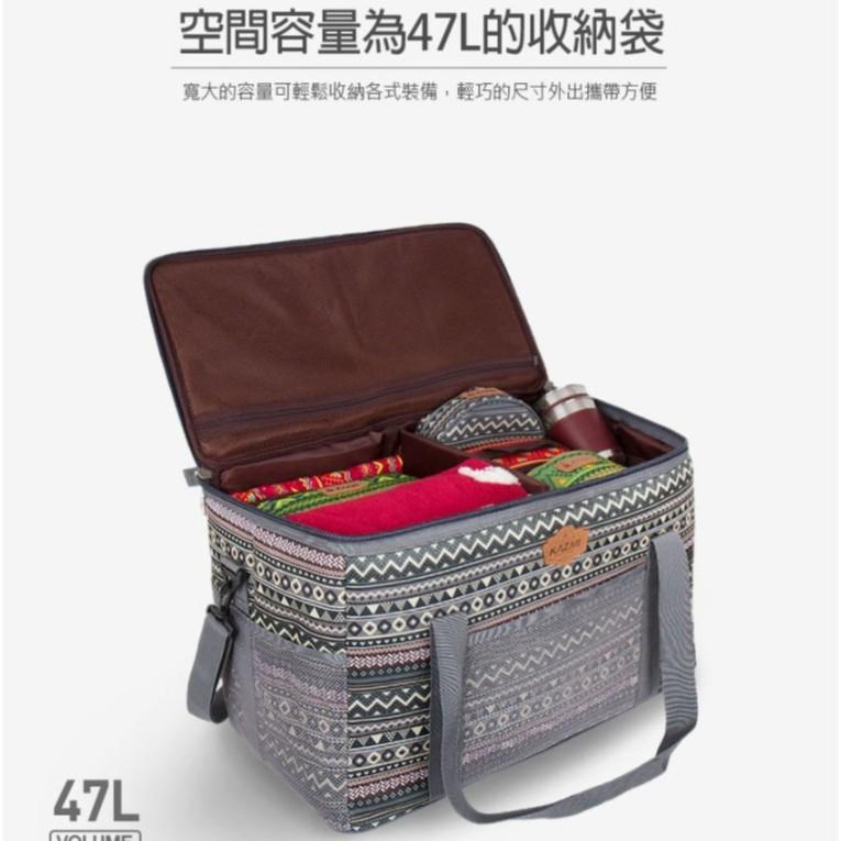 KAZMI 彩繪民族風裝備收納袋47L 裝備箱 收納 整理箱 露營 野餐 戶外 釣魚 【露戰隊】