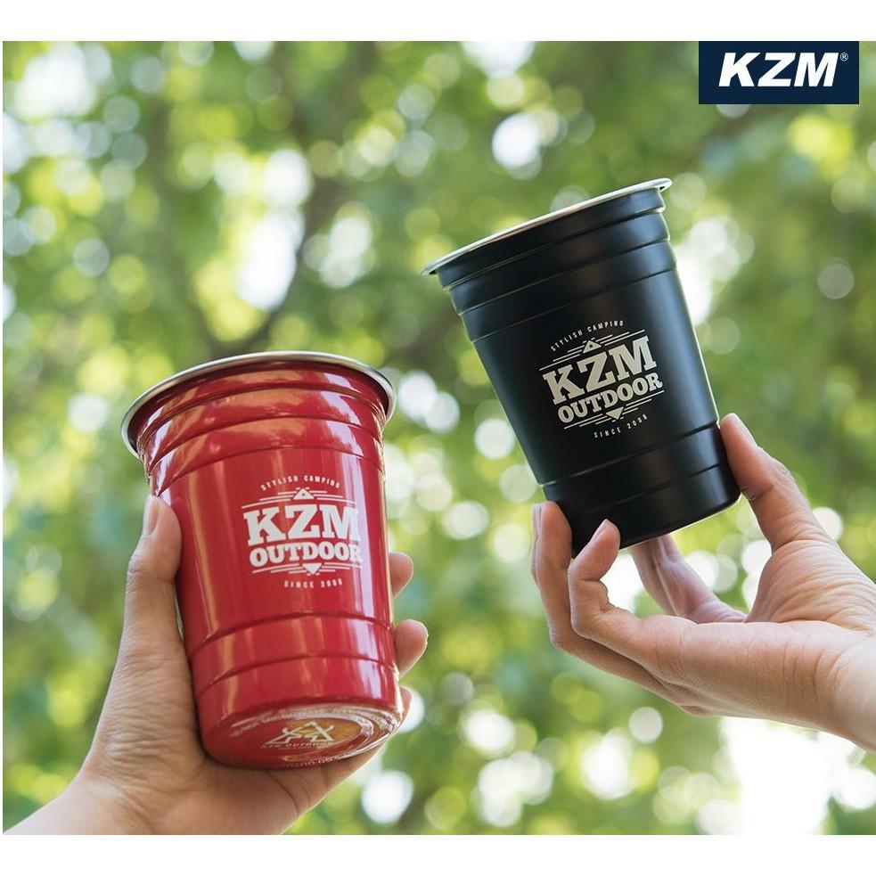 KAZMI KZM 酷樂杯2入組 紅色/黑色  露營 野餐 戶外 杯子 不銹鋼 飲料杯 冰杯 【露戰隊】 紅色