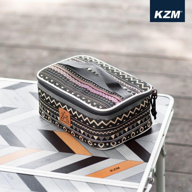 KAZMI KZM 彩繪民族風調味料收納袋(L)-藍灰色【露戰隊】
