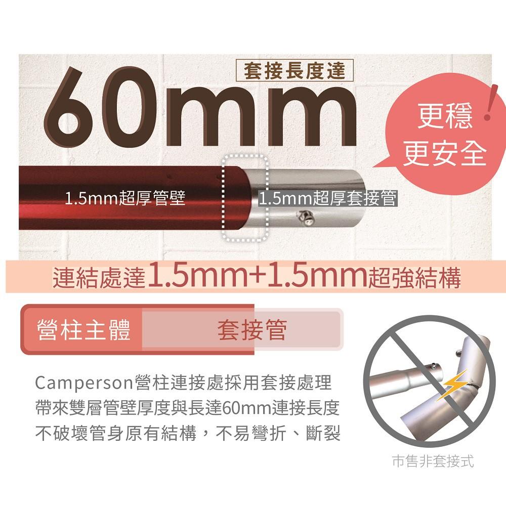 CAMPERSON 33MM高品質營柱 金色尖底210公分【露戰隊】
