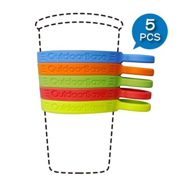矽膠環保杯環.杯子.杯套環.彈性環.伸縮環.保護環.套子.扣環.塑膠環【露戰隊】 一組5個各色各1