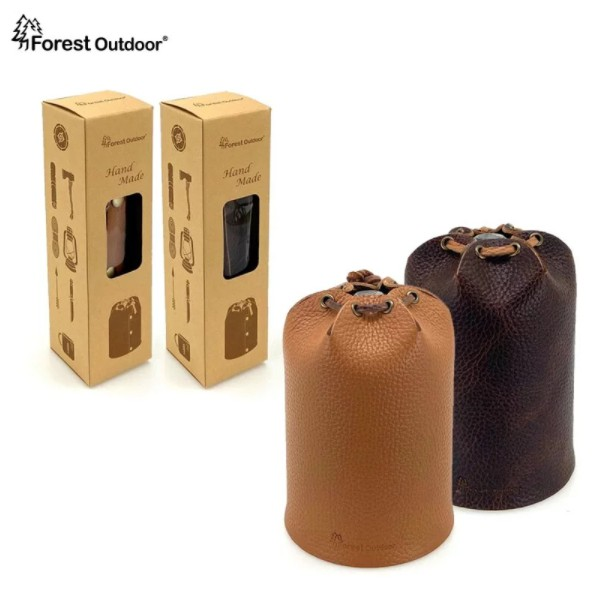 Forest Outdoor 限量手工真皮瓦斯皮套 高山瓦斯罐450g(大) 瓦斯套 高山瓦斯 【露戰隊】 淺棕