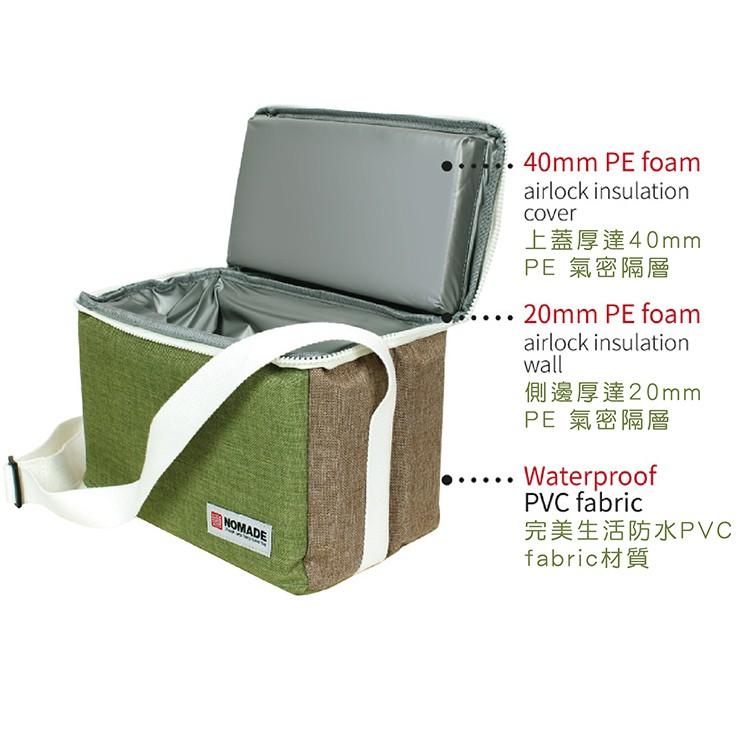 NOMADE 7L純色肩背保冷袋 雙色 保冰袋 保溫袋 露營 野餐 環保袋 午餐袋 便當袋 冰包 N7148【露戰隊】 綠色
