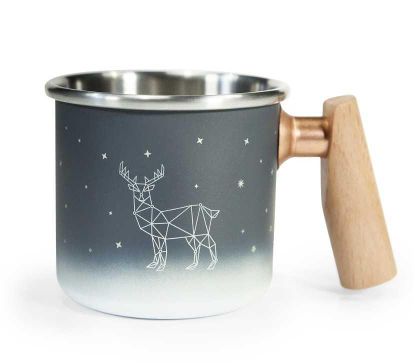 Truvii 400ml 木柄白鐵杯 304不銹鋼-北歐森林【露戰隊】 北歐森林