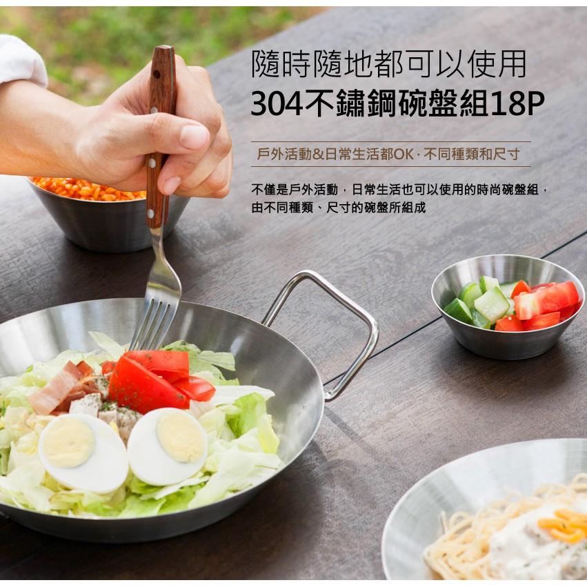 KAZMI KZM 304不鏽鋼碗盤組18P 露營 野餐 不銹鋼盤 不銹鋼碗 不銹鋼餐具 野餐 【露戰隊】