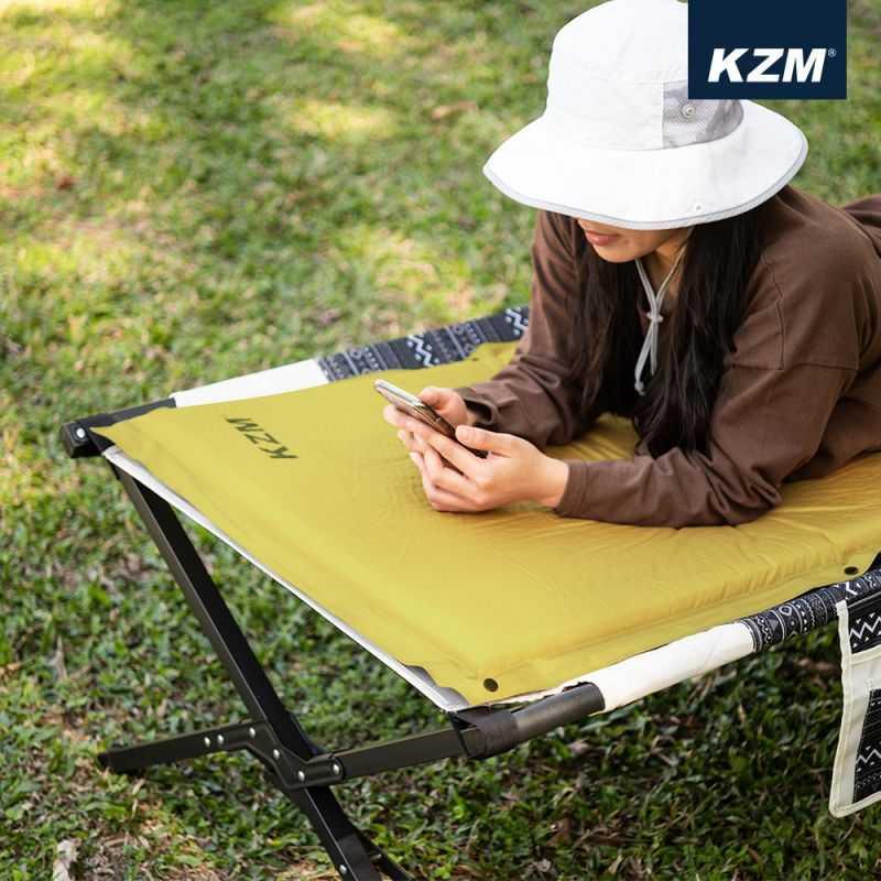 KAZMI自動充氣單人床墊-卡其【露戰隊】