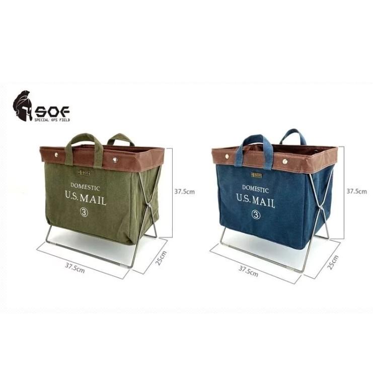 Camping Bar風格選物 SOF 摺疊置物籃-海軍藍/軍綠【露戰隊】