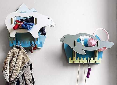 Werkhaus 可愛動物配件收納壁掛架-小刺猬