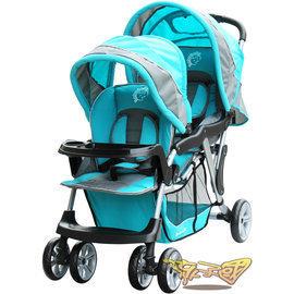 【Babybabe】歐風雙人手推車(藍色)